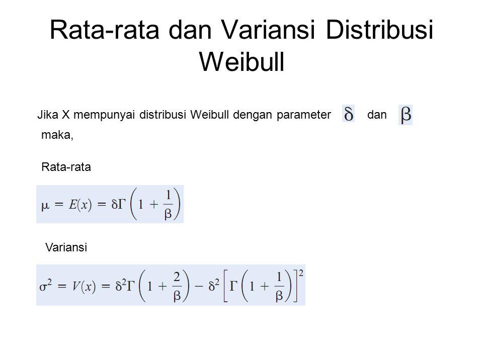 Rata-rata dan Variansi Distribusi Weibull Jika X mempunyai distribusi Weibull dengan parameterdan maka, Rata-rata Variansi