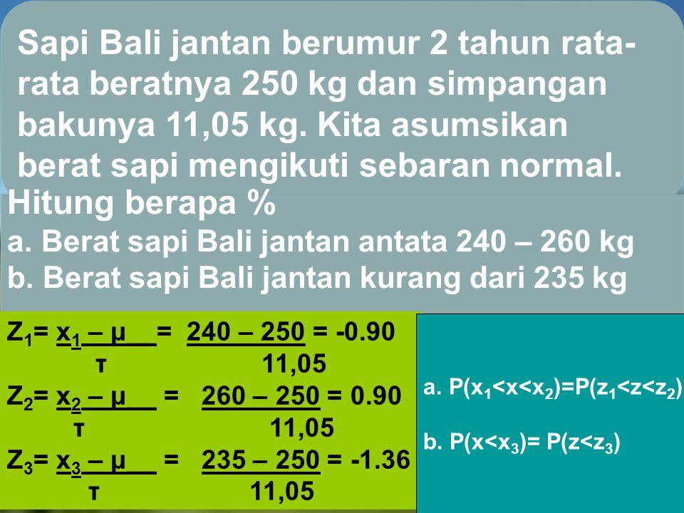 Sapi Bali jantan berumur 2 tahun rata- rata beratnya 250 kg dan simpangan bakunya 11,05 kg. Kita asumsikan berat sapi mengikuti sebaran normal. Hitung