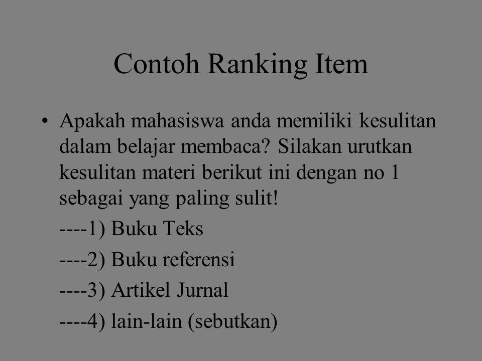 Contoh Ranking Item Apakah mahasiswa anda memiliki kesulitan dalam belajar membaca.