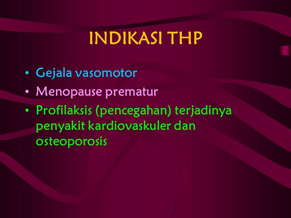INDIKASI THP Gejala vasomotor Menopause prematur Profilaksis (pencegahan) terjadinya penyakit kardiovaskuler dan osteoporosis