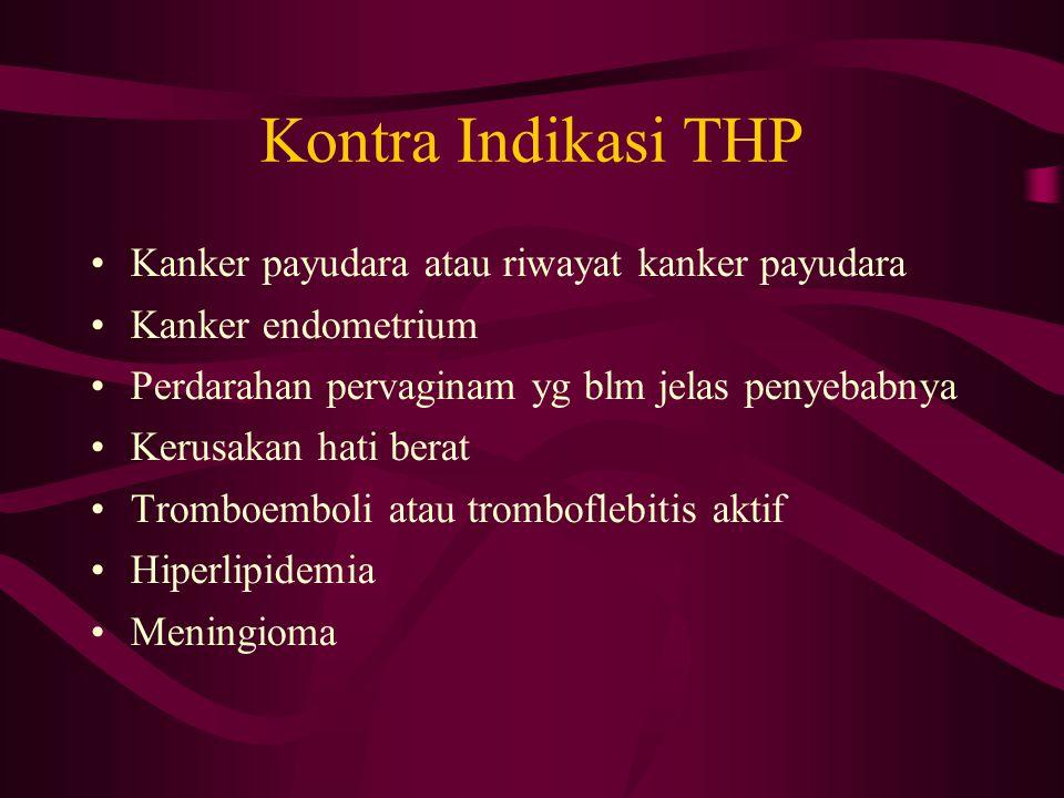 Kontra Indikasi THP Kanker payudara atau riwayat kanker payudara Kanker endometrium Perdarahan pervaginam yg blm jelas penyebabnya Kerusakan hati bera