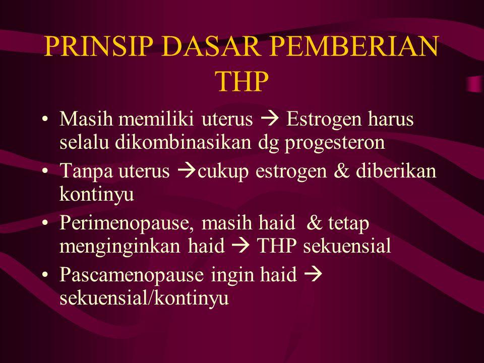 PRINSIP DASAR PEMBERIAN THP Masih memiliki uterus  Estrogen harus selalu dikombinasikan dg progesteron Tanpa uterus  cukup estrogen & diberikan kont