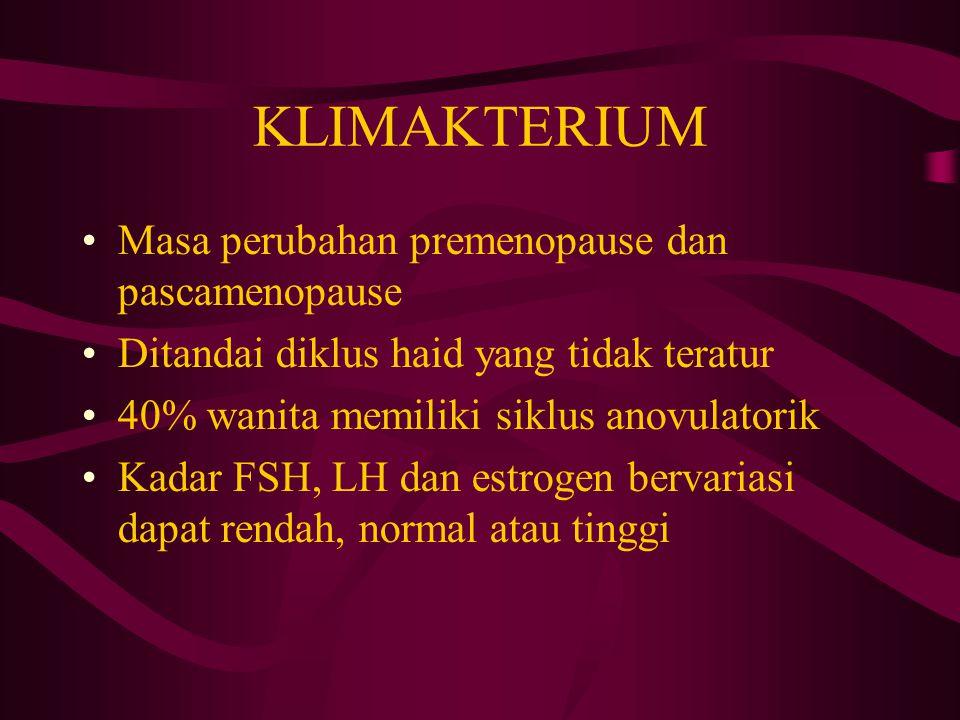 KLIMAKTERIUM Masa perubahan premenopause dan pascamenopause Ditandai diklus haid yang tidak teratur 40% wanita memiliki siklus anovulatorik Kadar FSH,
