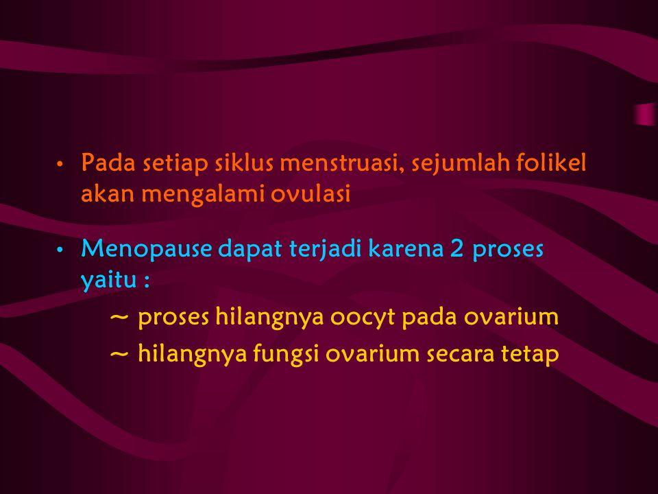 Pada setiap siklus menstruasi, sejumlah folikel akan mengalami ovulasi Menopause dapat terjadi karena 2 proses yaitu : ~ proses hilangnya oocyt pada o