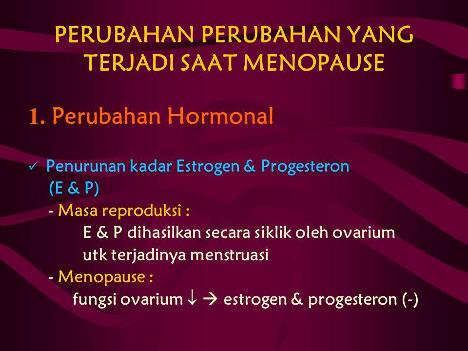 PERUBAHAN PERUBAHAN YANG TERJADI SAAT MENOPAUSE 1. Perubahan Hormonal Penurunan kadar Estrogen & Progesteron (E & P) - Masa reproduksi : E & P dihasil