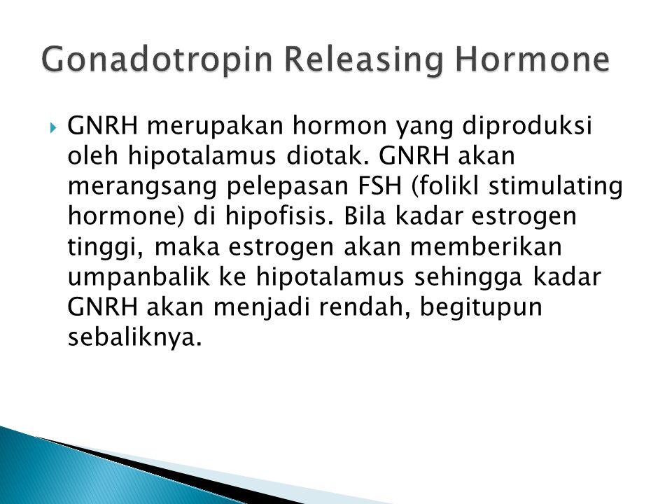  GNRH merupakan hormon yang diproduksi oleh hipotalamus diotak. GNRH akan merangsang pelepasan FSH (folikl stimulating hormone) di hipofisis. Bila ka