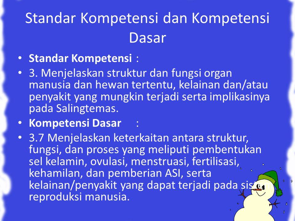 Standar Kompetensi dan Kompetensi Dasar Standar Kompetensi: 3. Menjelaskan struktur dan fungsi organ manusia dan hewan tertentu, kelainan dan/atau pen