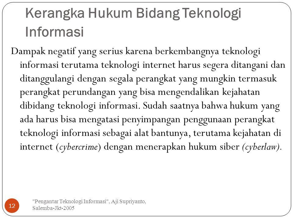 Kerangka Hukum Bidang Teknologi Informasi