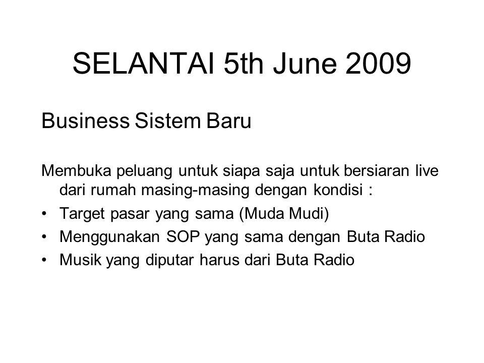 SELANTAI 5th June 2009 Business Sistem Baru Membuka peluang untuk siapa saja untuk bersiaran live dari rumah masing-masing dengan kondisi : Target pasar yang sama (Muda Mudi) Menggunakan SOP yang sama dengan Buta Radio Musik yang diputar harus dari Buta Radio