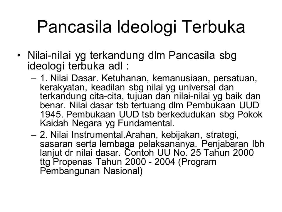 Pancasila Ideologi Terbuka Nilai-nilai yg terkandung dlm Pancasila sbg ideologi terbuka adl : –1. Nilai Dasar. Ketuhanan, kemanusiaan, persatuan, kera