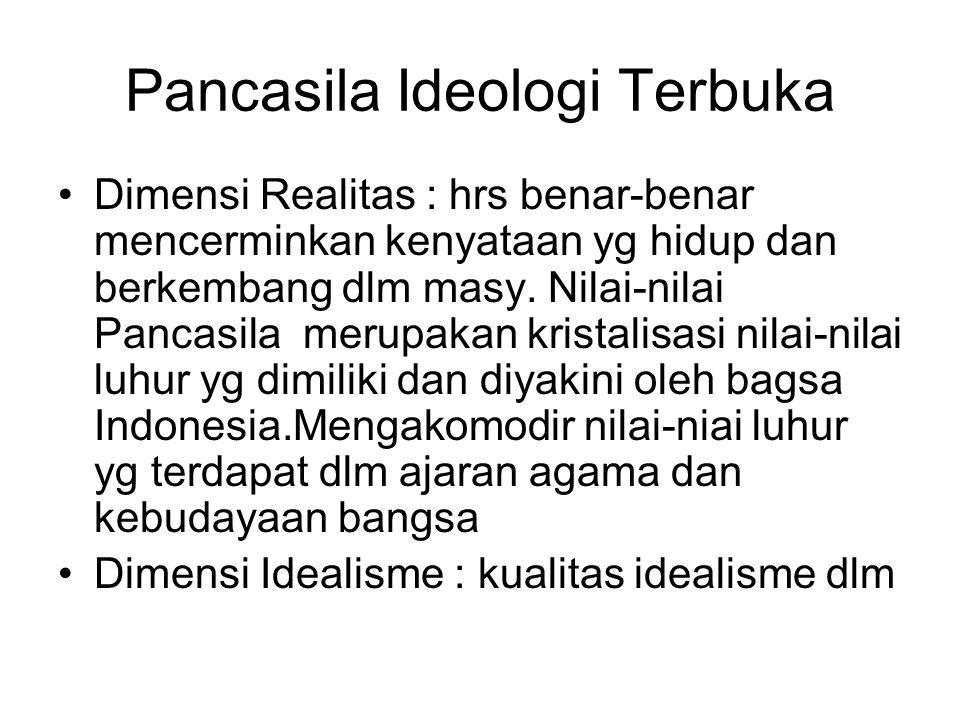 Pancasila Ideologi Terbuka Dimensi Realitas : hrs benar-benar mencerminkan kenyataan yg hidup dan berkembang dlm masy. Nilai-nilai Pancasila merupakan