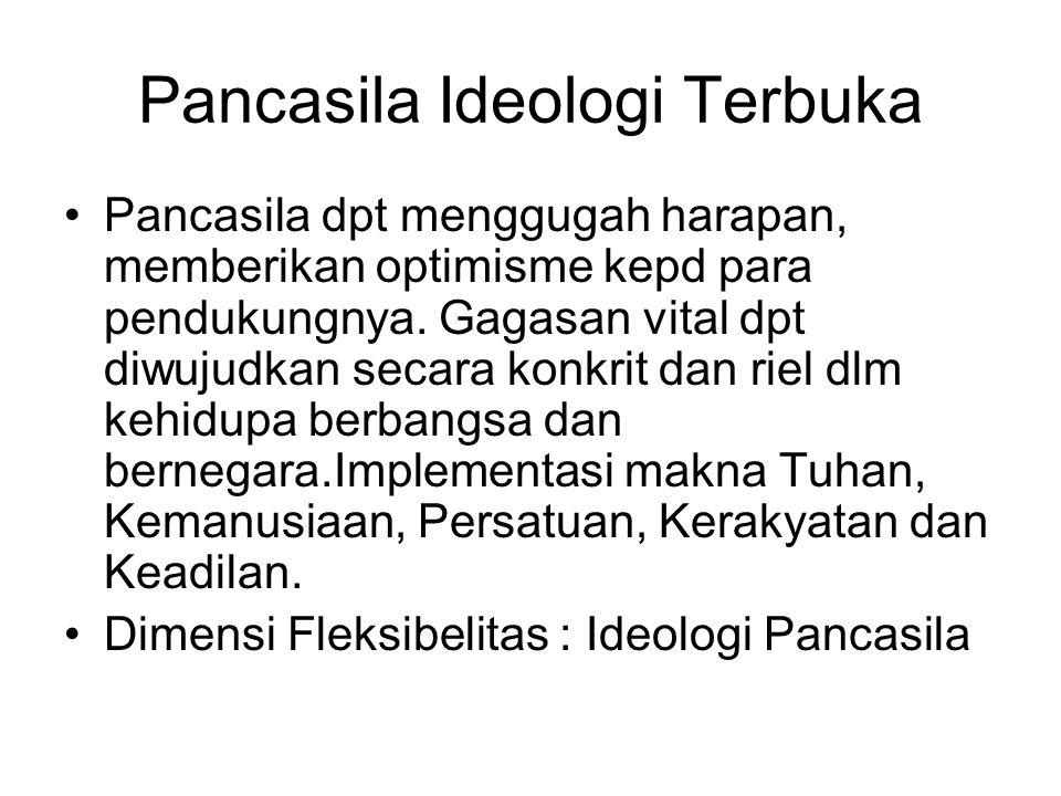 Pancasila Ideologi Terbuka Pancasila dpt menggugah harapan, memberikan optimisme kepd para pendukungnya. Gagasan vital dpt diwujudkan secara konkrit d