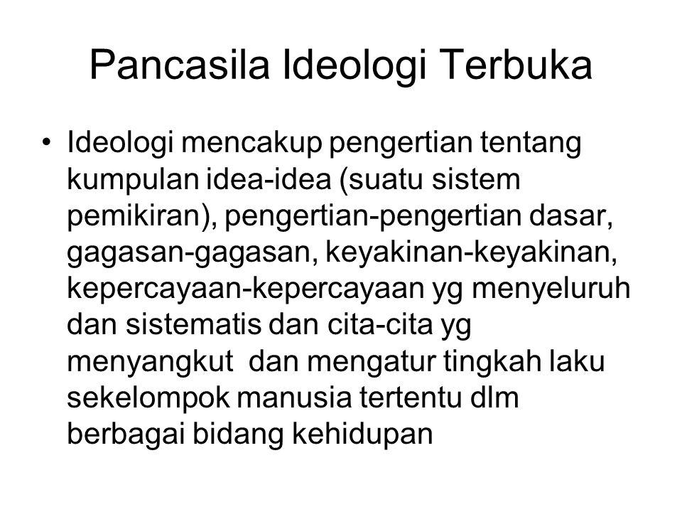 Pancasila Ideologi Terbuka Ideologi mencakup pengertian tentang kumpulan idea-idea (suatu sistem pemikiran), pengertian-pengertian dasar, gagasan-gaga