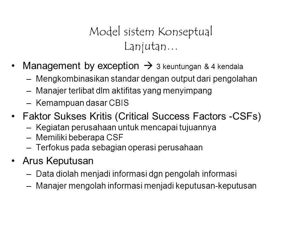 Model sistem Konseptual Lanjutan… Management by exception  3 keuntungan & 4 kendala –Mengkombinasikan standar dengan output dari pengolahan –Manajer
