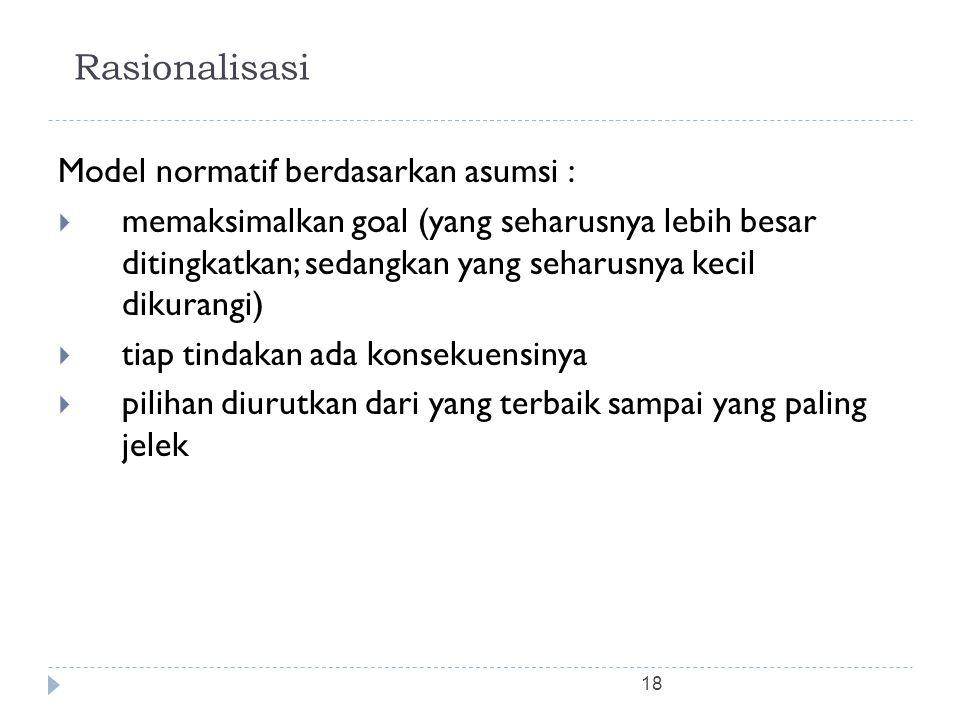18 Rasionalisasi Model normatif berdasarkan asumsi :  memaksimalkan goal (yang seharusnya lebih besar ditingkatkan; sedangkan yang seharusnya kecil d