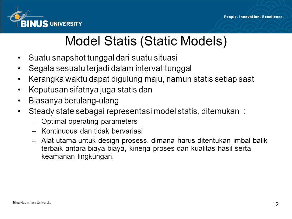Bina Nusantara University 12 Model Statis (Static Models) Suatu snapshot tunggal dari suatu situasi Segala sesuatu terjadi dalam interval-tunggal Kera