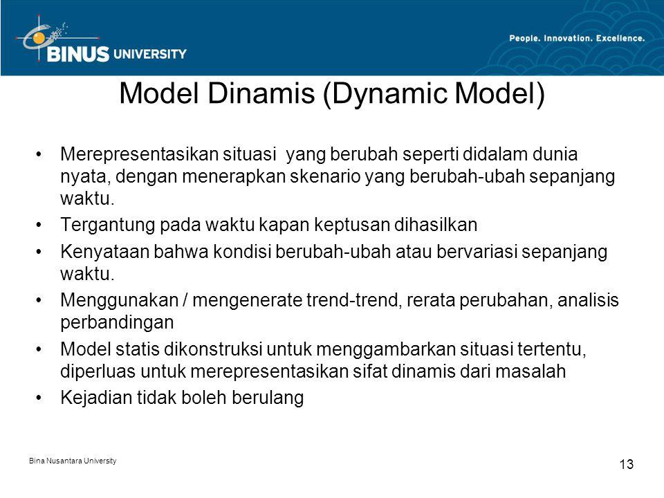 Bina Nusantara University 13 Model Dinamis (Dynamic Model) Merepresentasikan situasi yang berubah seperti didalam dunia nyata, dengan menerapkan skena