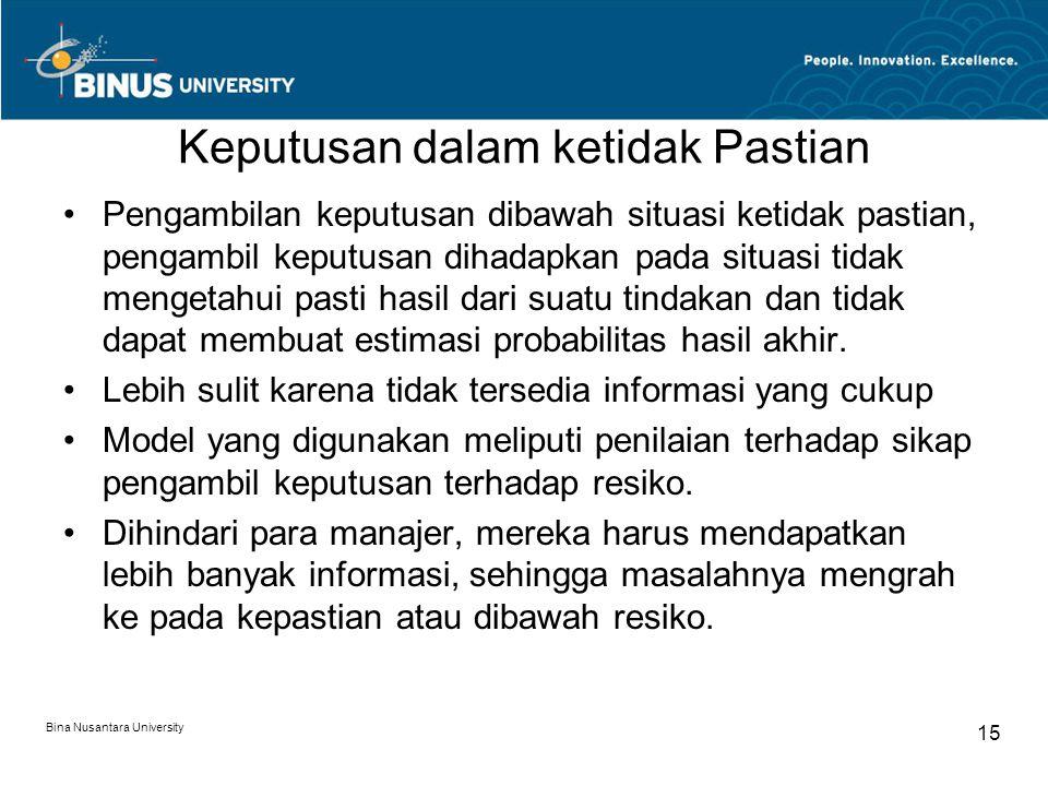 Bina Nusantara University 15 Keputusan dalam ketidak Pastian Pengambilan keputusan dibawah situasi ketidak pastian, pengambil keputusan dihadapkan pad