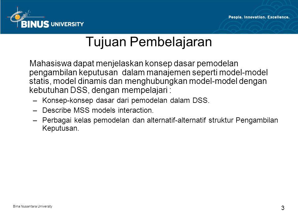 Bina Nusantara University 3 Tujuan Pembelajaran Mahasiswa dapat menjelaskan konsep dasar pemodelan pengambilan keputusan dalam manajemen seperti model