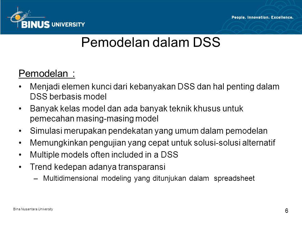 Bina Nusantara University 6 Pemodelan dalam DSS Pemodelan : Menjadi elemen kunci dari kebanyakan DSS dan hal penting dalam DSS berbasis model Banyak k