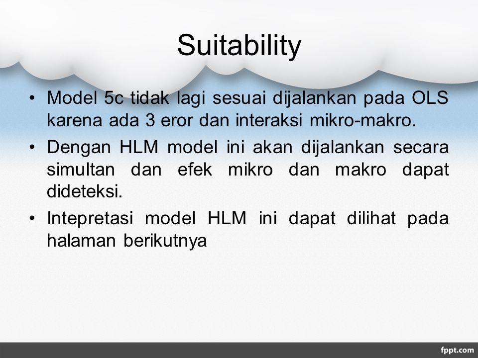 Suitability Model 5c tidak lagi sesuai dijalankan pada OLS karena ada 3 eror dan interaksi mikro-makro. Dengan HLM model ini akan dijalankan secara si
