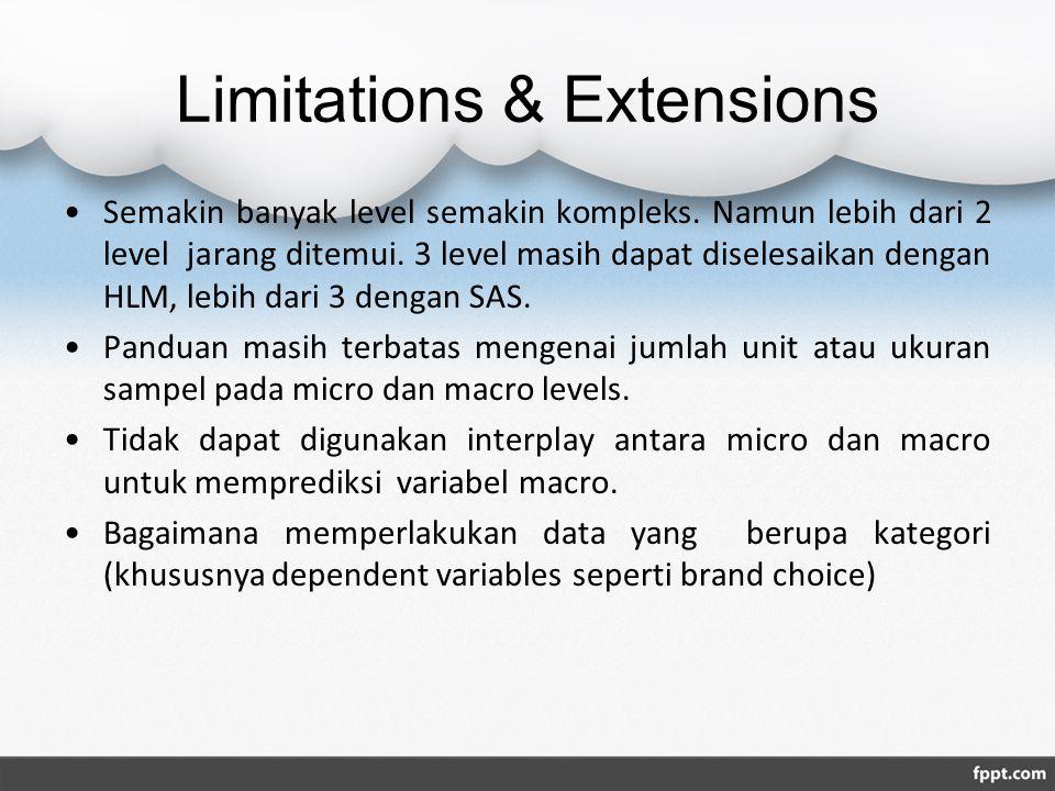 Limitations & Extensions Semakin banyak level semakin kompleks. Namun lebih dari 2 level jarang ditemui. 3 level masih dapat diselesaikan dengan HLM,