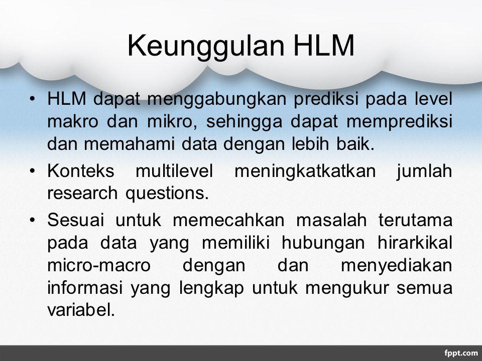Keunggulan HLM HLM dapat menggabungkan prediksi pada level makro dan mikro, sehingga dapat memprediksi dan memahami data dengan lebih baik. Konteks mu