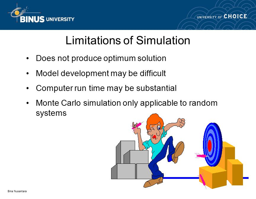 Bina Nusantara Limitations of Simulation Does not produce optimum solution Model development may be difficult Computer run time may be substantial Monte Carlo simulation only applicable to random systems