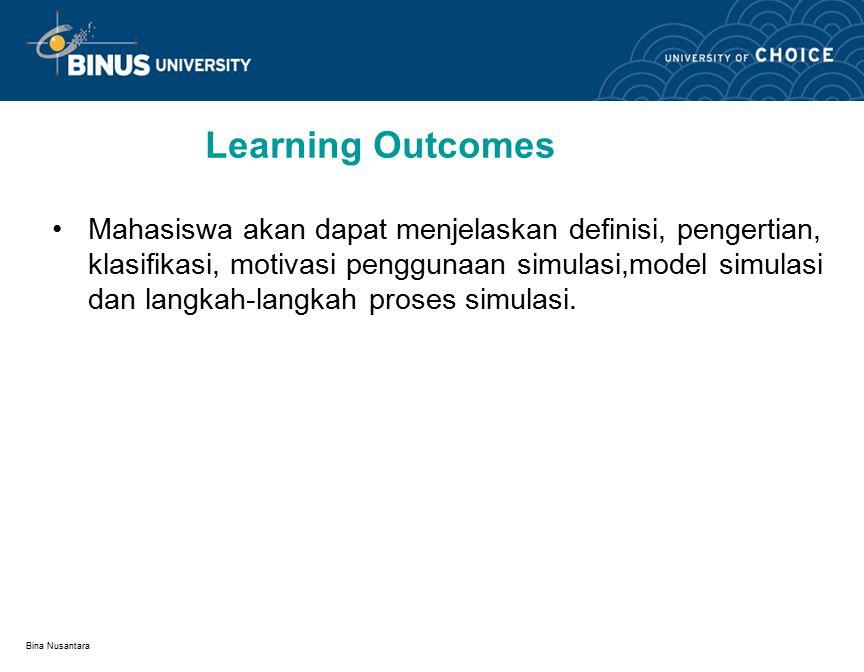Bina Nusantara Learning Outcomes Mahasiswa akan dapat menjelaskan definisi, pengertian, klasifikasi, motivasi penggunaan simulasi,model simulasi dan langkah-langkah proses simulasi.