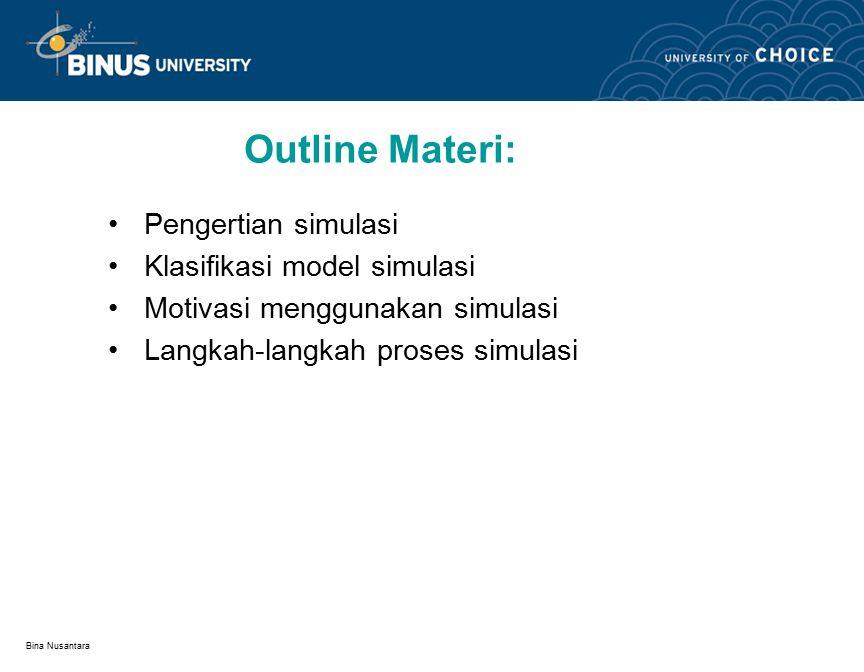 Bina Nusantara Outline Materi: Pengertian simulasi Klasifikasi model simulasi Motivasi menggunakan simulasi Langkah-langkah proses simulasi