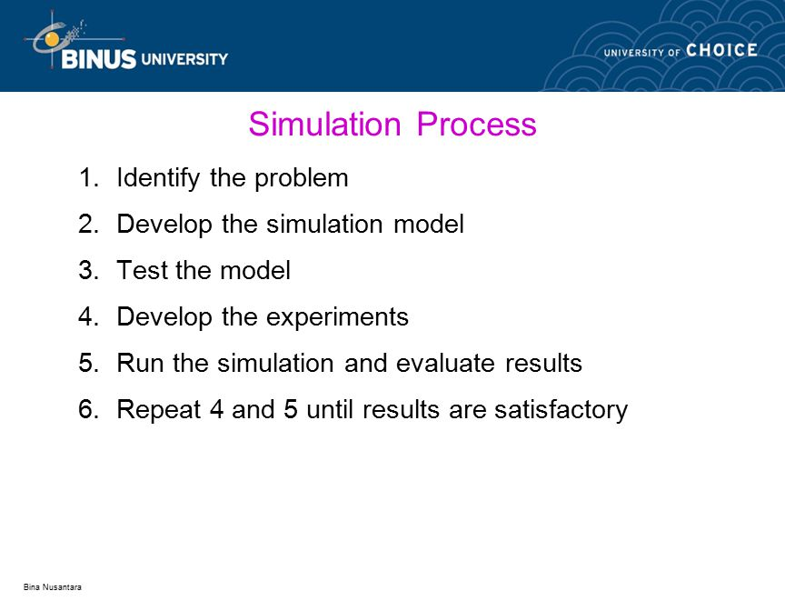 Bina Nusantara Simulation Process 1.Identify the problem 2.Develop the simulation model 3.Test the model 4.Develop the experiments 5.Run the simulation and evaluate results 6.Repeat 4 and 5 until results are satisfactory