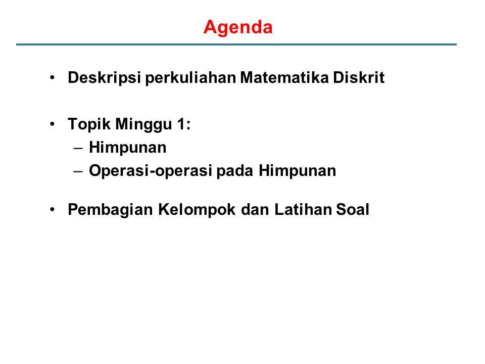 Agenda Deskripsi perkuliahan Matematika Diskrit Topik Minggu 1: –Himpunan –Operasi-operasi pada Himpunan Pembagian Kelompok dan Latihan Soal