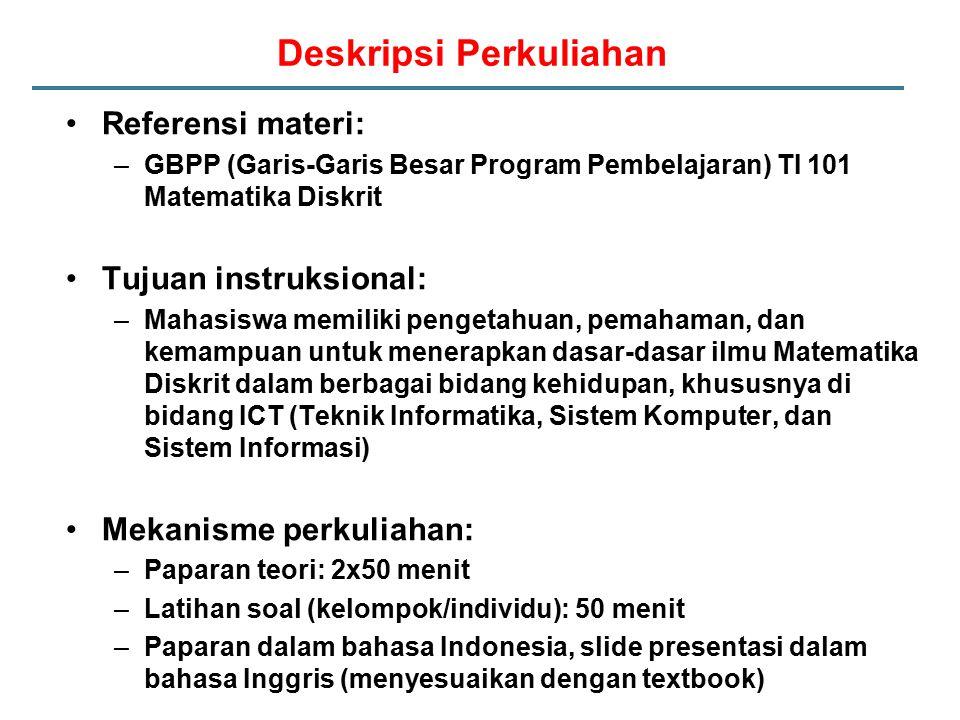 Deskripsi Perkuliahan Referensi materi: –GBPP (Garis-Garis Besar Program Pembelajaran) TI 101 Matematika Diskrit Tujuan instruksional: –Mahasiswa memi