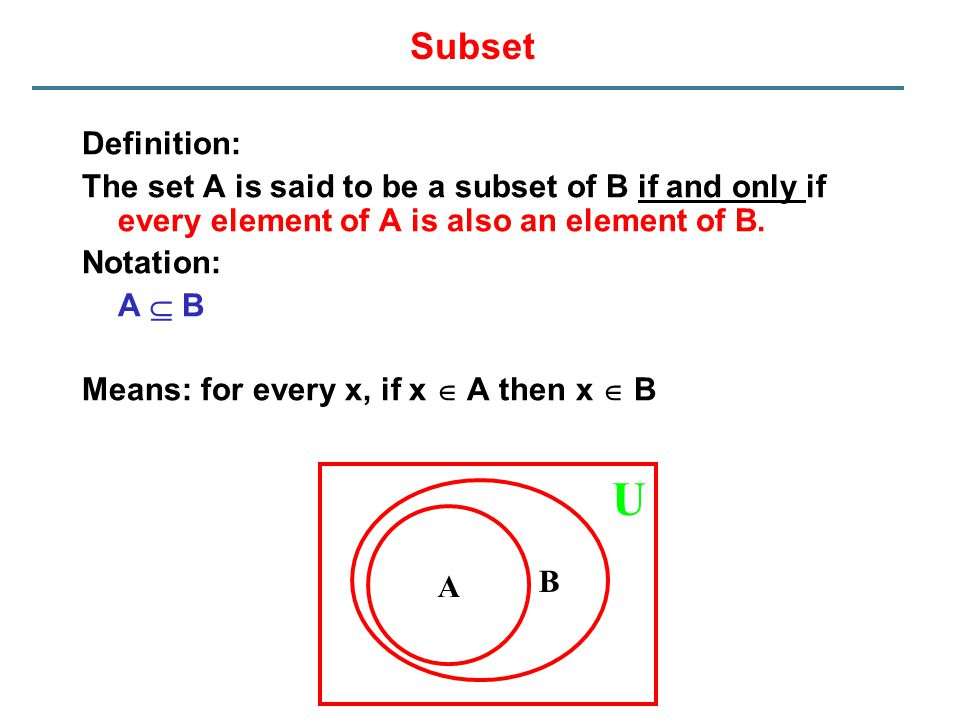 Subset Definition: The set A is said to be a subset of B if and only if every element of A is also an element of B. Notation: A  B Means: for every x
