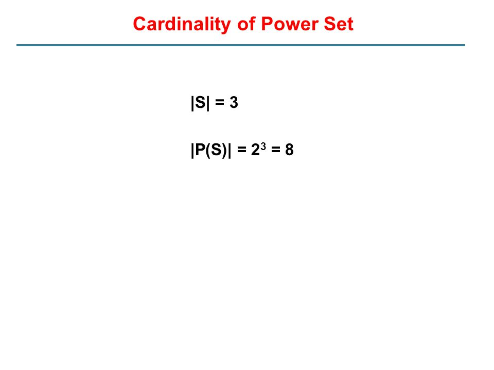 Cardinality of Power Set |S| = 3 |P(S)| = 2 3 = 8