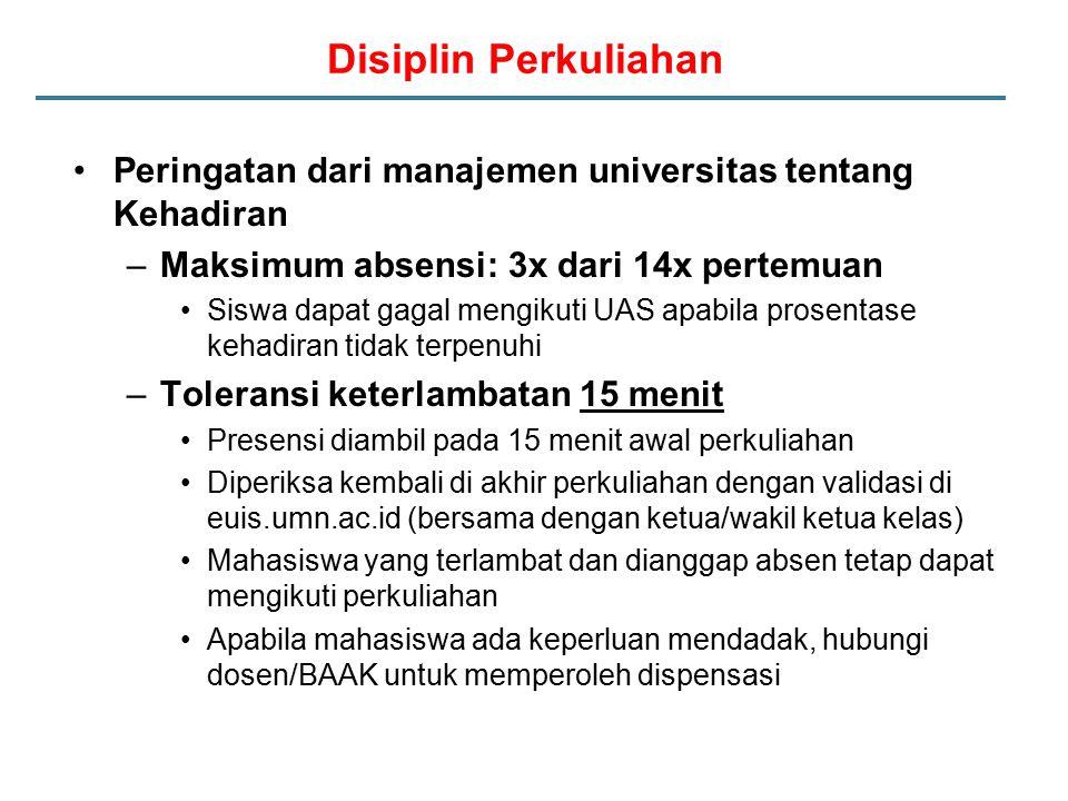 Disiplin Perkuliahan Peringatan dari manajemen universitas tentang Kehadiran –Maksimum absensi: 3x dari 14x pertemuan Siswa dapat gagal mengikuti UAS