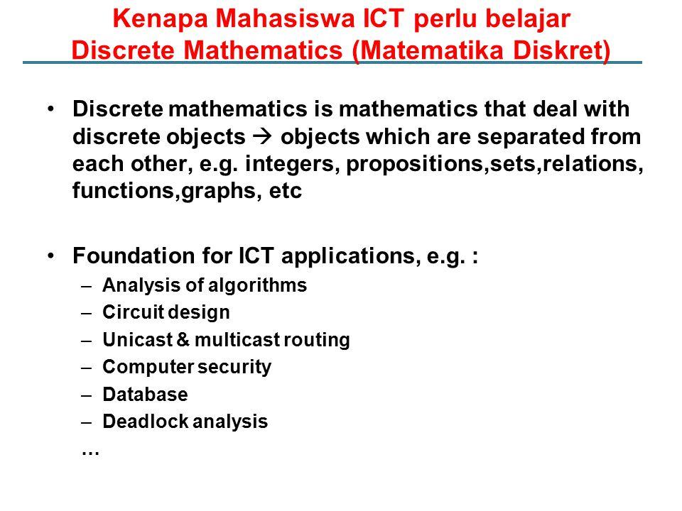 Pokok Bahasan (1) Minggu keTopik 1-Konsep Himpunan -Operasi-operasi pada himpunan 2-Proposisi -Operator logika dan tabel kebenaran -Implikasi dan bi-implikasi -Tautologi, kontradiksi, dan kontingensi -Argument dan aturan inferensi -Quantifiers 3-Pembuktian langsung dan tidak langsung -Metode pembuktian lainnya -Strategi pembuktian -Induksi Matematika 4-Fungsi -Barisan dan strings -Deret jumlahan dan kalian