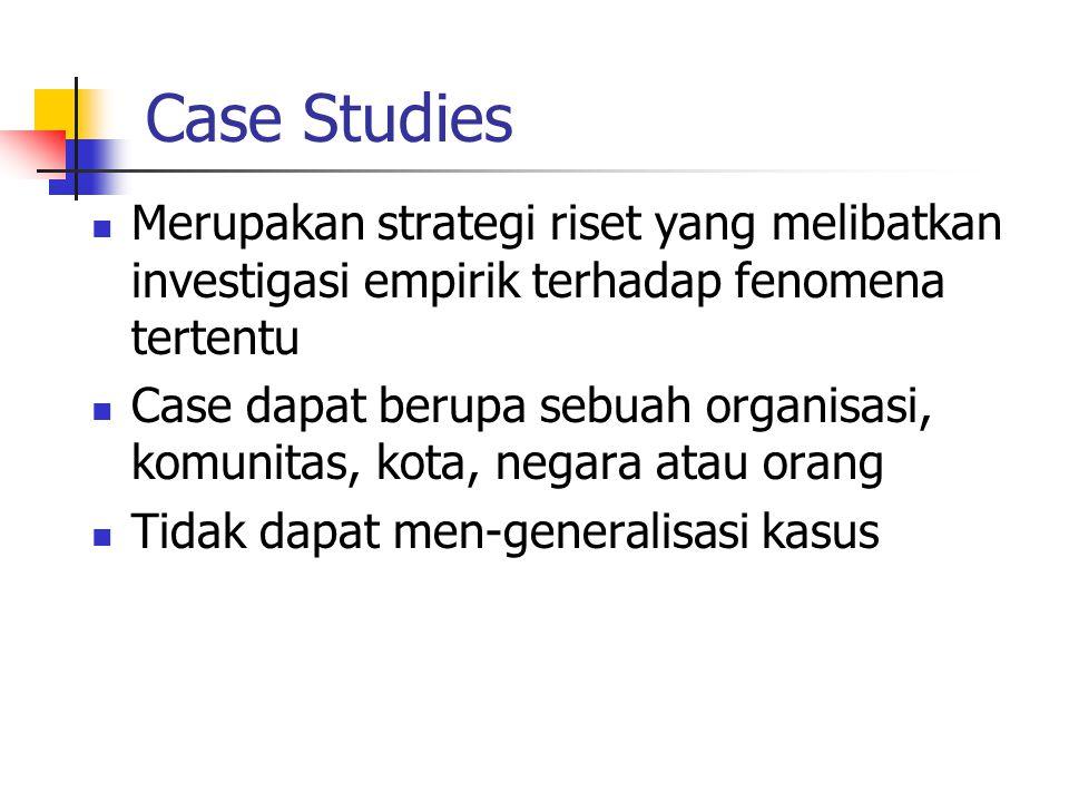 Case Studies Merupakan strategi riset yang melibatkan investigasi empirik terhadap fenomena tertentu Case dapat berupa sebuah organisasi, komunitas, kota, negara atau orang Tidak dapat men-generalisasi kasus