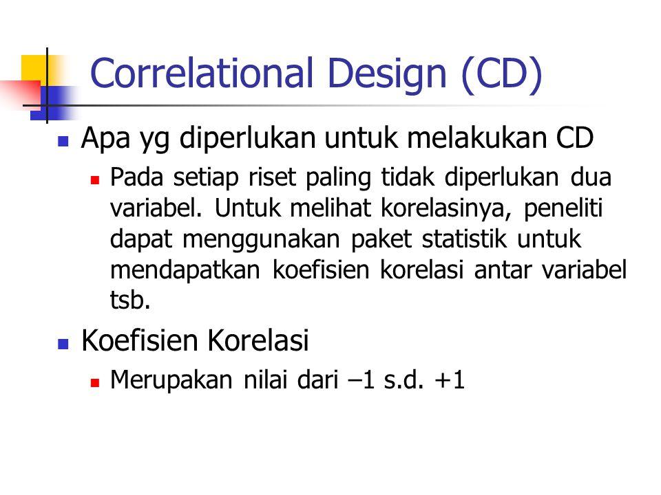 Correlational Design (CD) Apa yg diperlukan untuk melakukan CD Pada setiap riset paling tidak diperlukan dua variabel. Untuk melihat korelasinya, pene