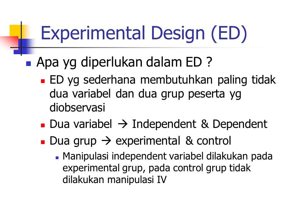 Experimental Design (ED) Apa yg diperlukan dalam ED ? ED yg sederhana membutuhkan paling tidak dua variabel dan dua grup peserta yg diobservasi Dua va