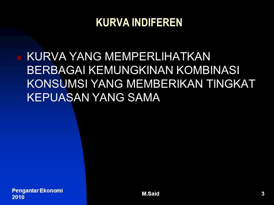 Pengantar Ekonomi 2010 M.Said4 KARAKTERISTIK KURVA INDIFEREN SEPANJANG KURVA KEPUASAN SAMA BESARNYA KURVA TIDAK MUNGKIN BERPOTONGAN SEMAKIN TINGGI KURVA SEMAKIN TINGGI KEPUASAN BERBENTUK DARI KIRI ATAS KE KANAN BAWAH CEMBUNG TERHADAP TITIK ORIGINAL (TITIK 0)