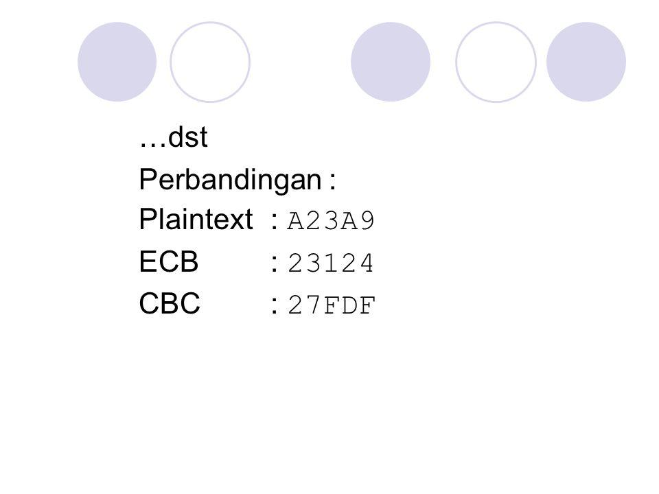 …dst Perbandingan : Plaintext: A23A9 ECB: 23124 CBC: 27FDF