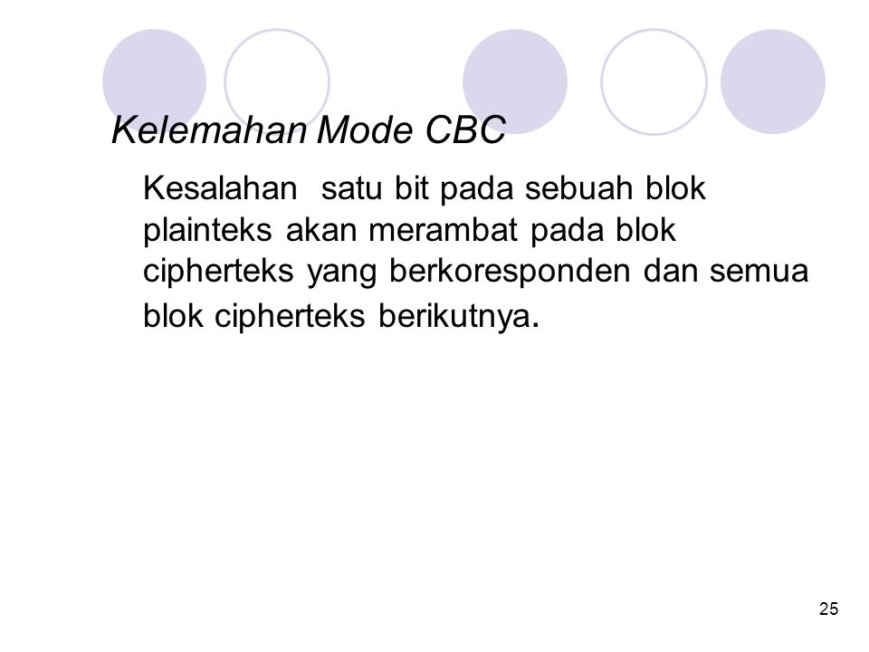25 Kelemahan Mode CBC Kesalahan satu bit pada sebuah blok plainteks akan merambat pada blok cipherteks yang berkoresponden dan semua blok cipherteks berikutnya.