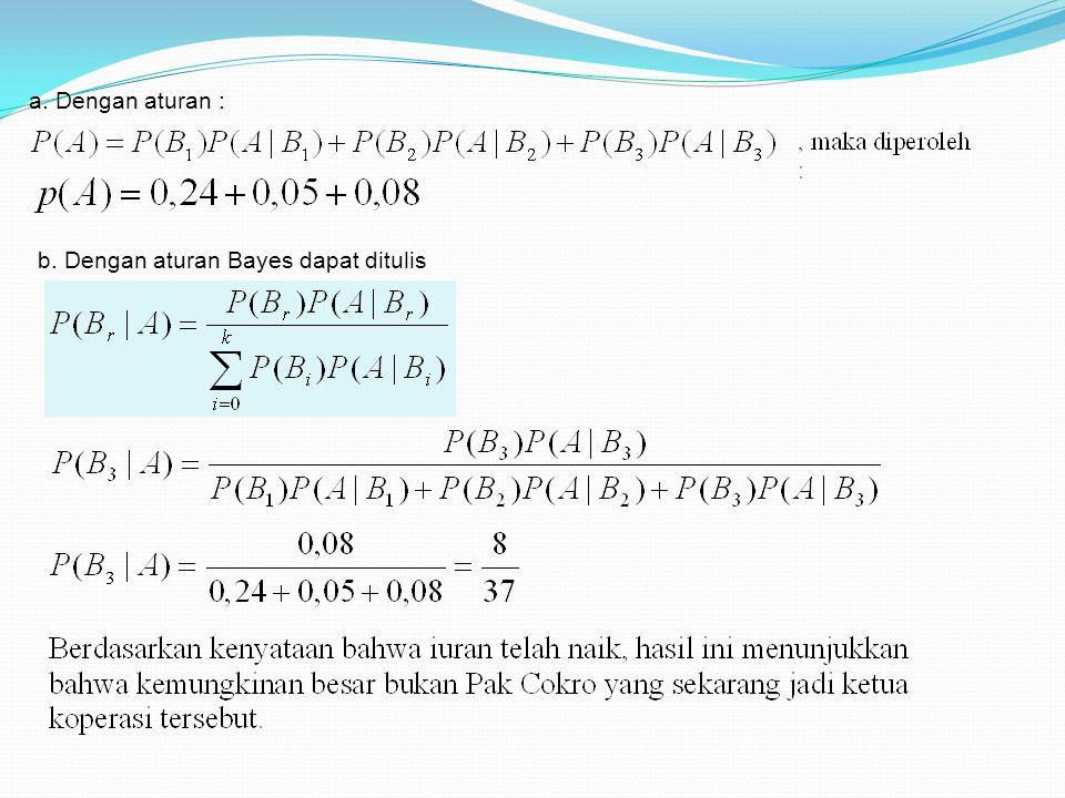 b. Dengan aturan Bayes dapat ditulis a. Dengan aturan :