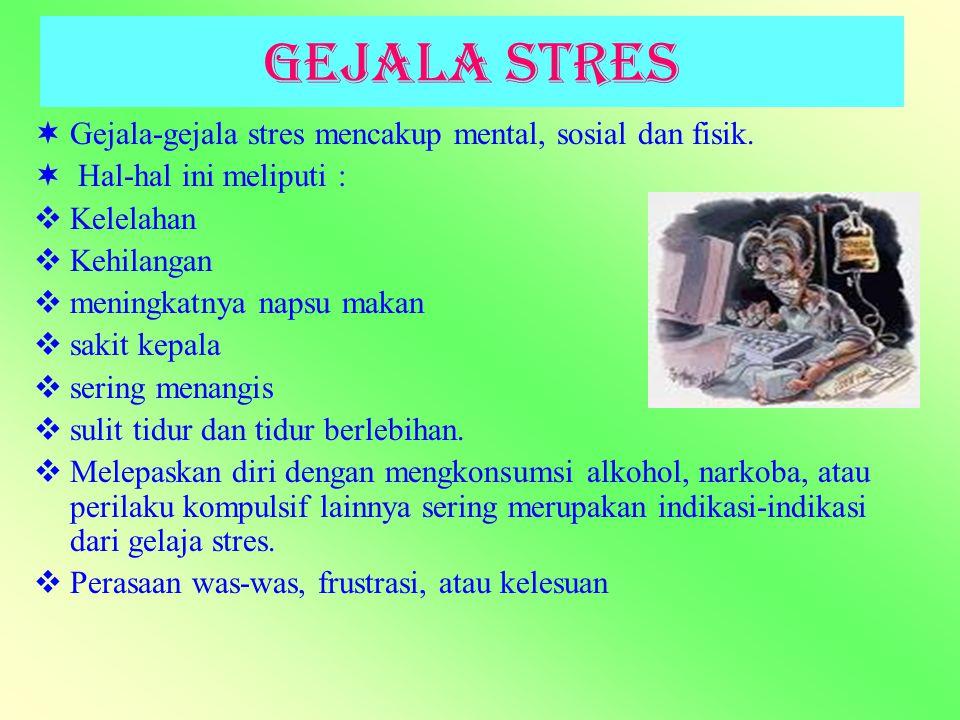 Gejala Stres GG ejala-gejala stres mencakup mental, sosial dan fisik.