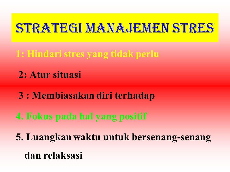 Strategi Manajemen Stres 1: Hindari stres yang tidak perlu 2: Atur situasi 3 : Membiasakan diri terhadap 4.