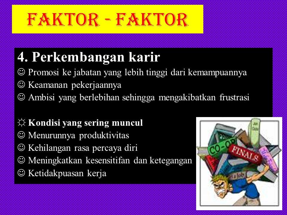 FAKTOR - FAKTOR 5.Struktur organisasi Struktur yang kaku dan tidak bersahabat Pertempuran politik Pengawasan dan pelatihan yang tidak seimbang Ketidakterlibatan dalam membuat keputusan ☼Faktor yang sering muncul Menurunnya motivasi dan produktivitas Ketidakpuasan kerja