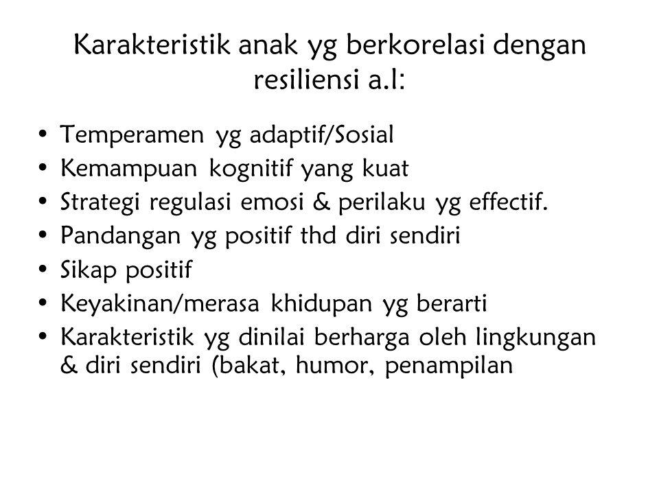 Karakteristik anak yg berkorelasi dengan resiliensi a.l : Temperamen yg adaptif/Sosial Kemampuan kognitif yang kuat Strategi regulasi emosi & perilaku
