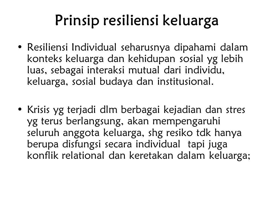 Prinsip resiliensi keluarga Resiliensi Individual seharusnya dipahami dalam konteks keluarga dan kehidupan sosial yg lebih luas, sebagai interaksi mut