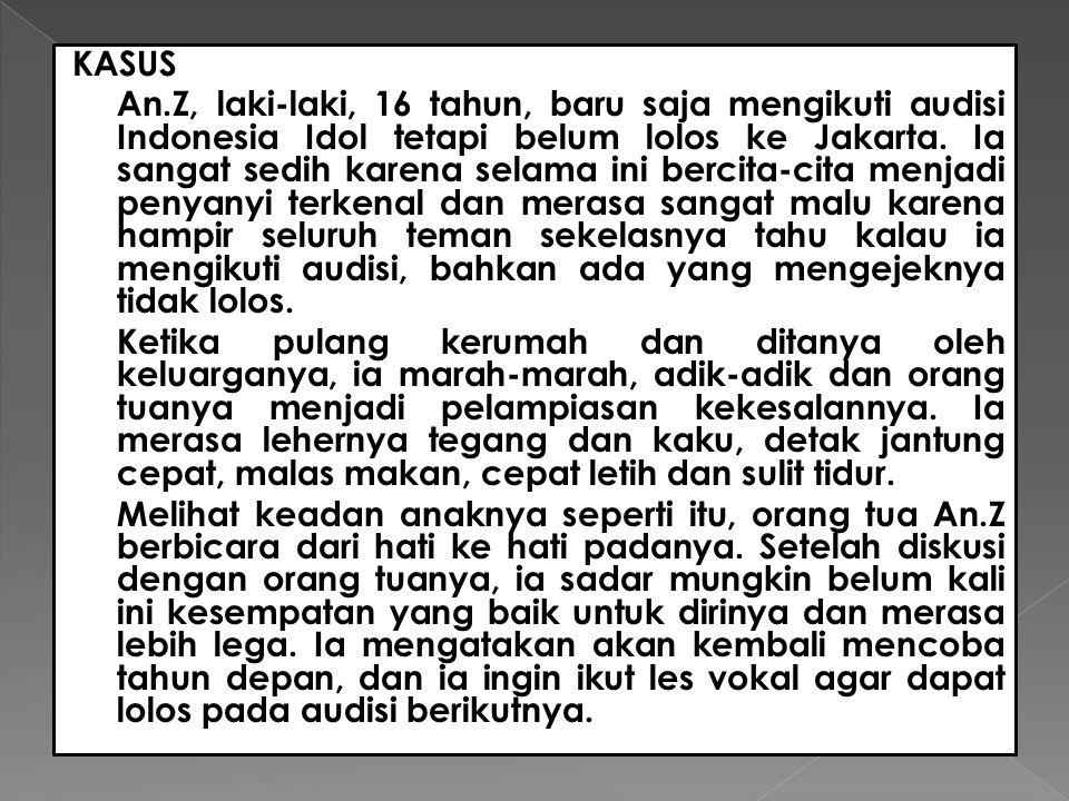 KASUS An.Z, laki-laki, 16 tahun, baru saja mengikuti audisi Indonesia Idol tetapi belum lolos ke Jakarta. Ia sangat sedih karena selama ini bercita-ci